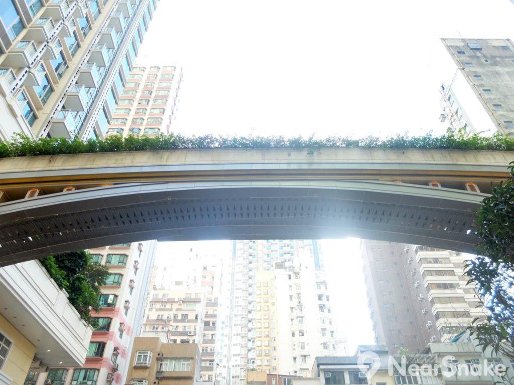 連接「囍滙」住宅大廈的這條天橋,夜裡會有燈光閃耀,為新區點綴不少。