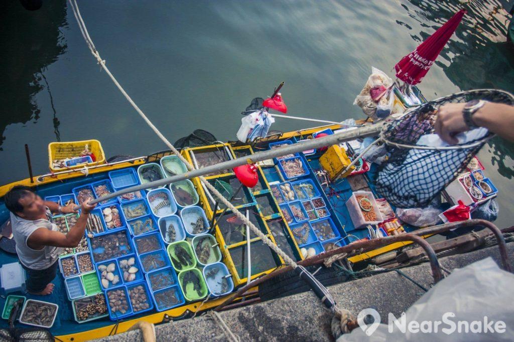 停泊在西貢海鮮街岸邊的漁船,載滿新鮮捕獲的海產,可讓遊客在岸上叫喊挑選。