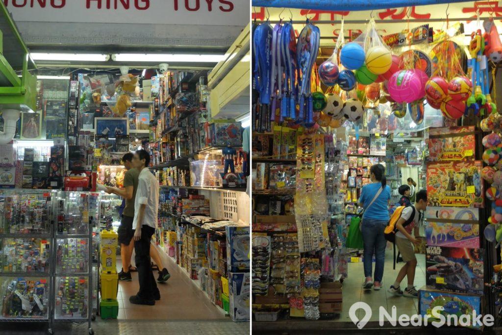 太原街街道兩旁排檔背後的行人道,隱藏著不少玩具店。