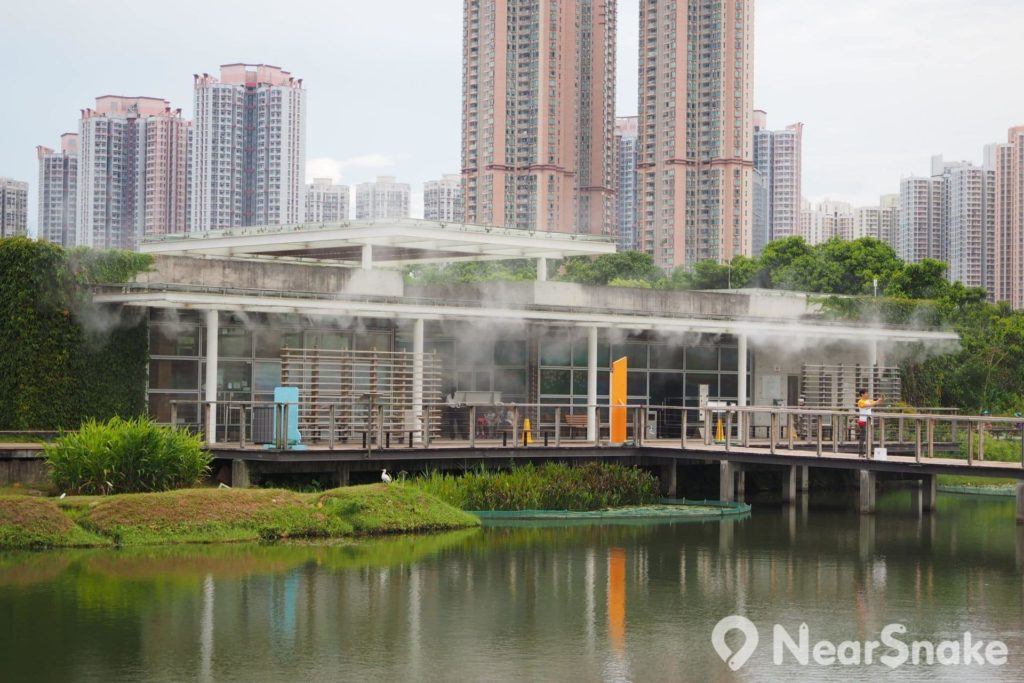 濕地探索中心設有兩個小型展館,經常會向外噴灑霧氣,為遊人降溫。