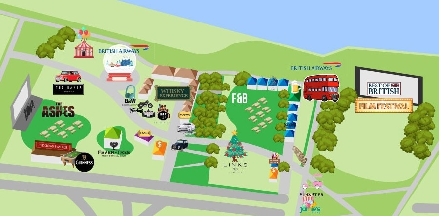 活動場地主要分為六大區域:電影放映會、音樂巡禮、威安忌盛宴、美食節、酒吧問答比賽及澳英板球賽現場直播。