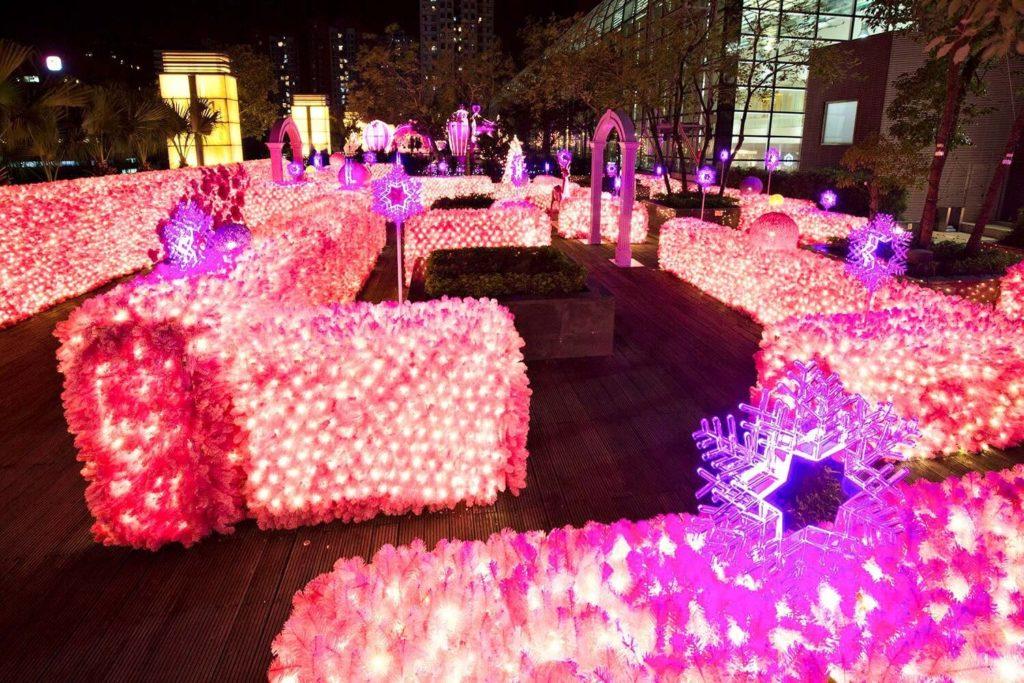 來到星光花園的入口處,會看到「嫩粉花牆迷宮」一片光影波海。