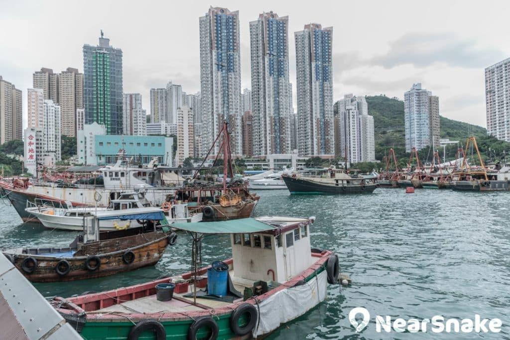 除大型漁船外,香港仔避風塘內也停泊了不少小型漁船。