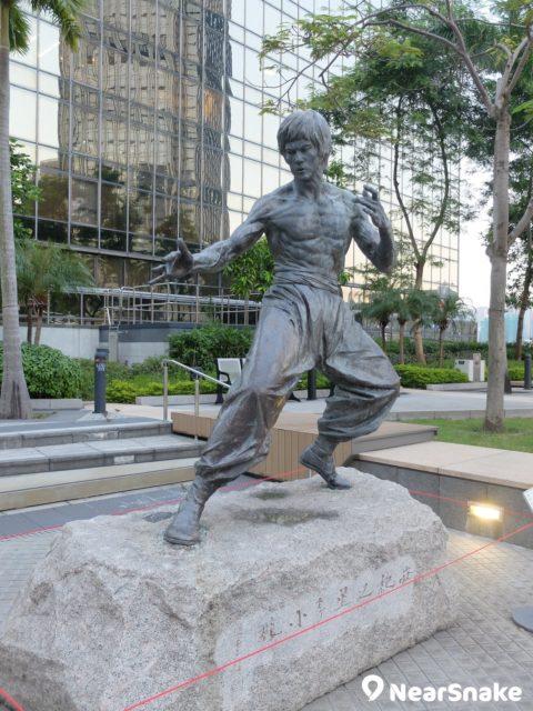 李小龍的銅像眼神淩厲,完全表現到一代武打巨星的風範。