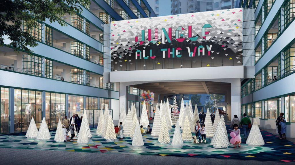 PMQ元創方用回收紙包飲品盒製作一棵棵聖誕樹,宣揚環保消費的節慶模式。