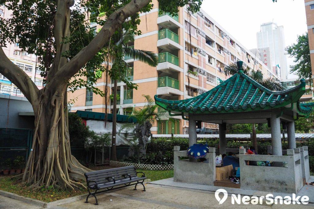 荃灣沙咀道遊樂場的瓦頂涼亭於周末成為外傭姐姐的聚餐場地。