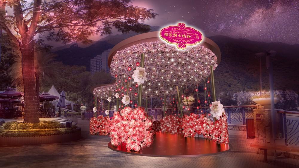 D'Deck 粉紅桃花亭台,以柔和的星燈點綴,予人超浪漫之感。