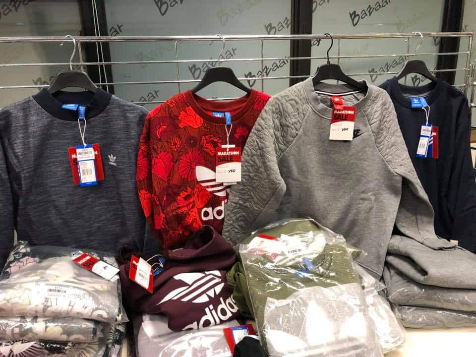 馬拉松便服及運動名牌開倉有 adidas 和 Nike 運動衣以特價發售。