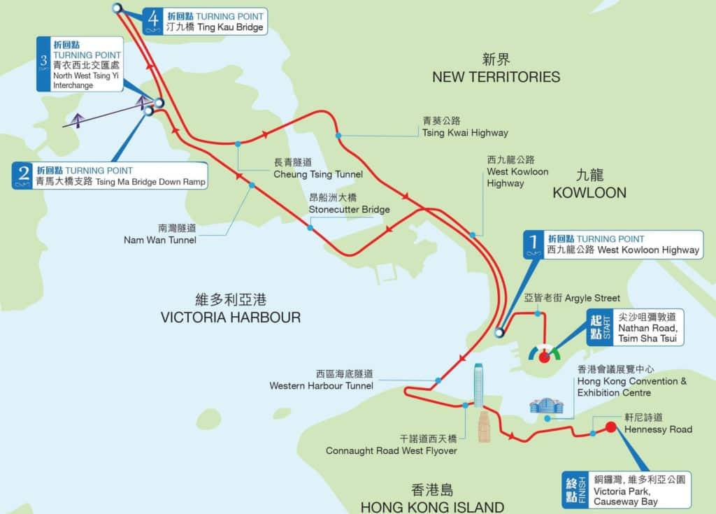香港渣打馬拉松2018 全程馬拉松路線