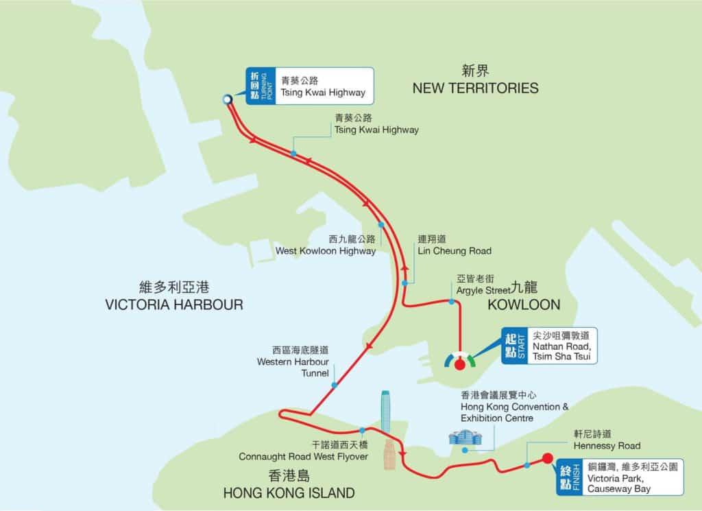 香港渣打馬拉松2018 半程馬拉松路線
