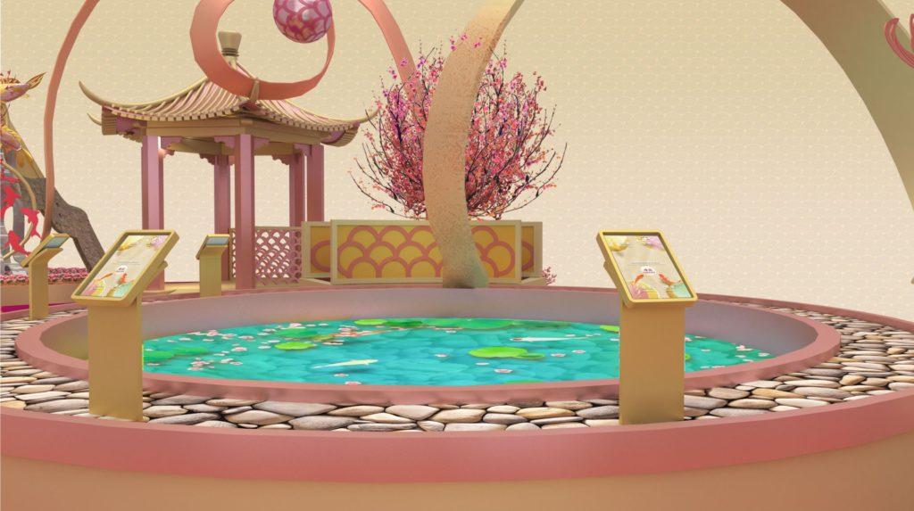 祝願池 直徑4米的互動數碼祝願池座落ifc商場中庭,栩栩如生的祝願錦鯉配合悉心設計的池面及裝飾,讓您為自己及摯愛誠心祝願外,亦留下美好的節日回憶。