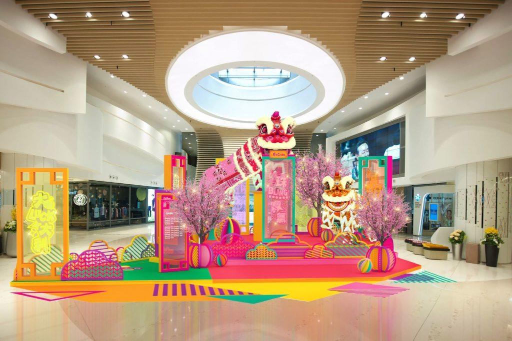 《彩繡福獅•醒STYLE賀歲》會場上將有兩隻福獅身披手工彩繡獅皮,佇立於 Popcorn 商場一期大舞台。