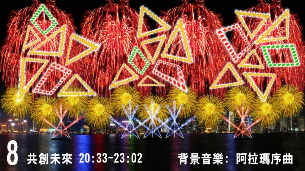 2018 農曆新年煙花匯演第 8 幕《共創未來》以七巧板元素為主題,既包含方形、三角形的 2D 幾何圖形,又有 3D 立方體圖案。(圖片來源:民政事務局)