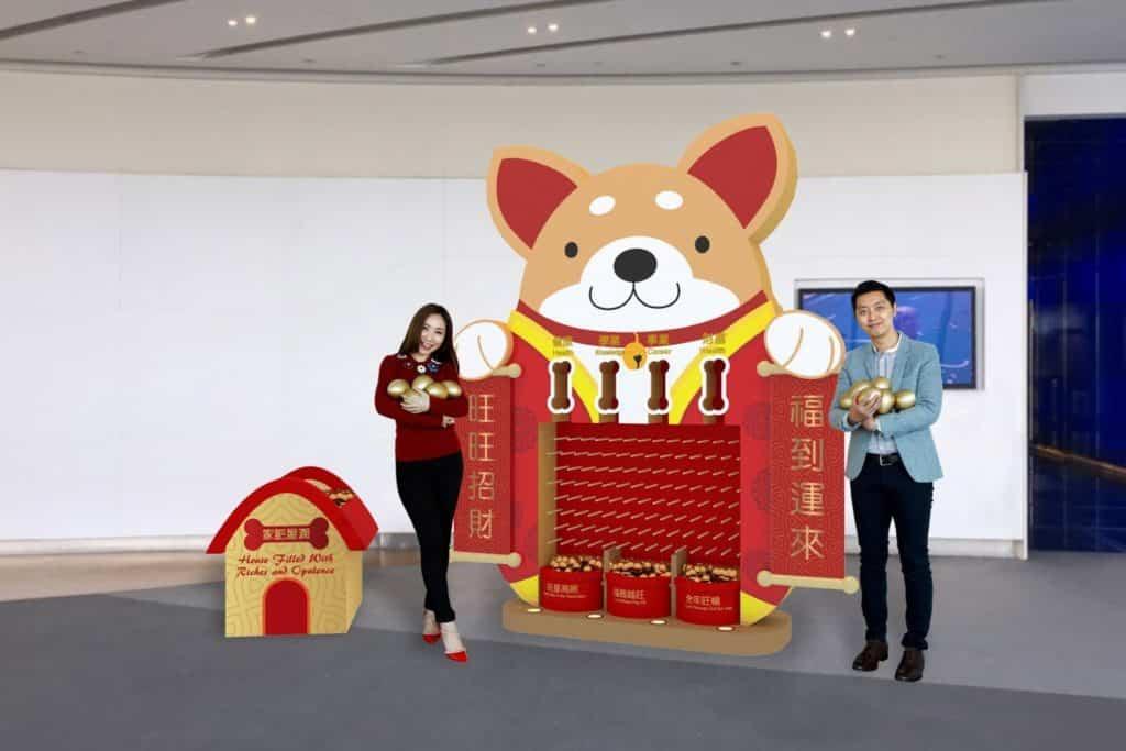 天際 100 與香港品牌 MAKE SOMETHING 聯乘,打造「招財旺旺」作新春賀歲佈置主題設計。