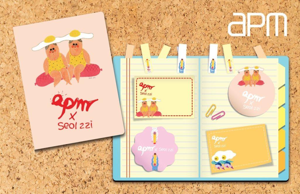 apm × Seolzzi 交叉合作的別注版便利貼套裝,內含有多款由韓國插畫師 Seolzzi 設計不同形狀的便利貼。