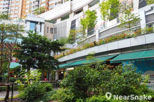 除地面的花園廣場外,荃新天地每層都設有戶外走廊,增加種植空間。