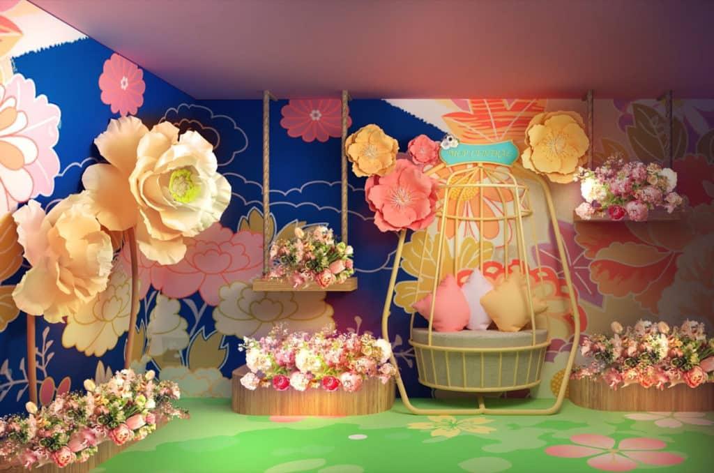 大家踏進復活節の春日花祭帳幕將可探索奇花世界,坐上藤椅,欣賞身旁大小不一的盛放春花。