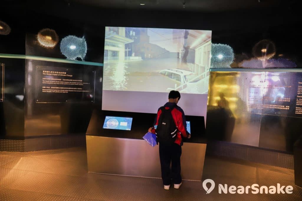 賽馬會氣候變化博物館內的常設展覽廳「衛星遙感及環境監測」。