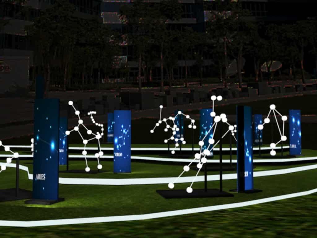 以十二星象為藍圖的藝術裝置設於數碼港户外草地。
