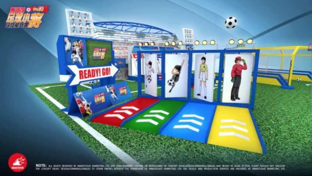 東港城 × 足球小將球技格鬥場:「光之跑道」考驗玩家的速度。