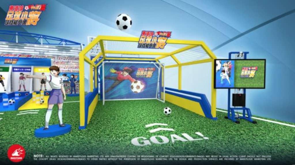 東港城 × 足球小將球技格鬥場:「數碼分析射門機」測試射門技術。