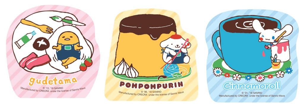 Sanrio characters便條紙一共3款,由三大人氣Sanrio角色蛋黃哥、布甸狗 (Pompompurin)以及玉桂狗 (Cinnamoroll)圖案組成。