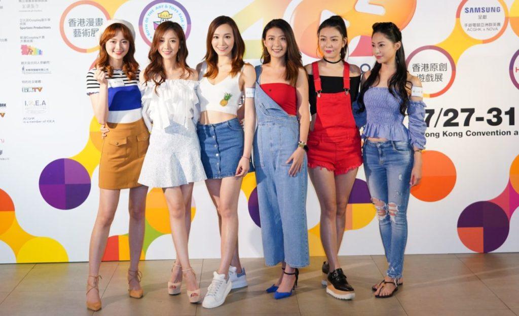 TVB 動漫大使 Godlike Girls(左起) 王卓淇、何依婷、鄧以婷、李君妍、尹詩沛、葉蒨文,出席香港動漫電玩節 2018 的發布會。