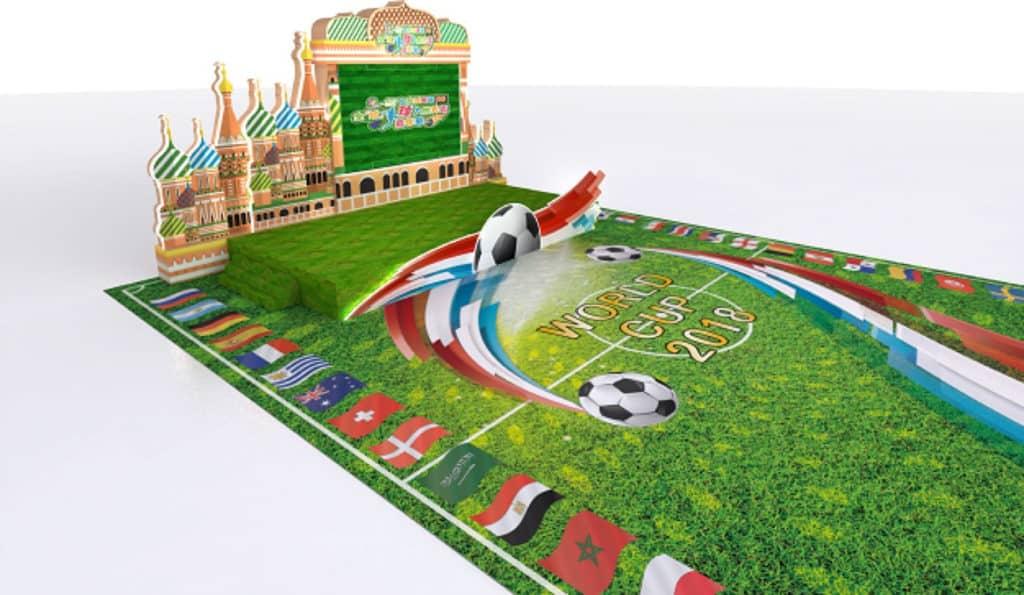 KCP九龍城廣場將舉行全「城」投入世界盃嘉年華,佈置充滿俄羅斯風情的大球場。