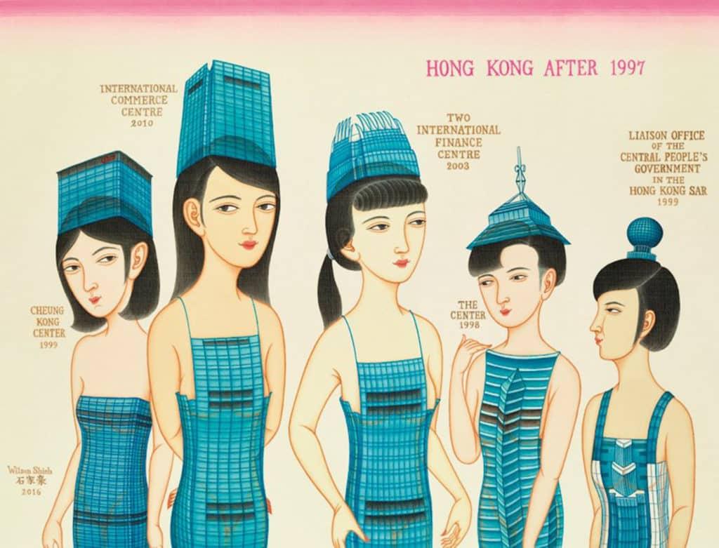 Hong Kong After 1997 一九九七後的香港。水墨及不透明水彩,絹本。