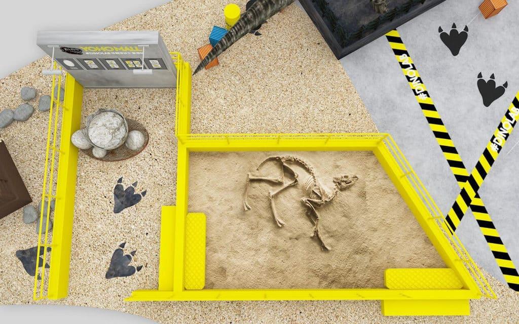 YOHO MALL 在商場架設模擬化石探勘場,參加者可體驗考古的過程。