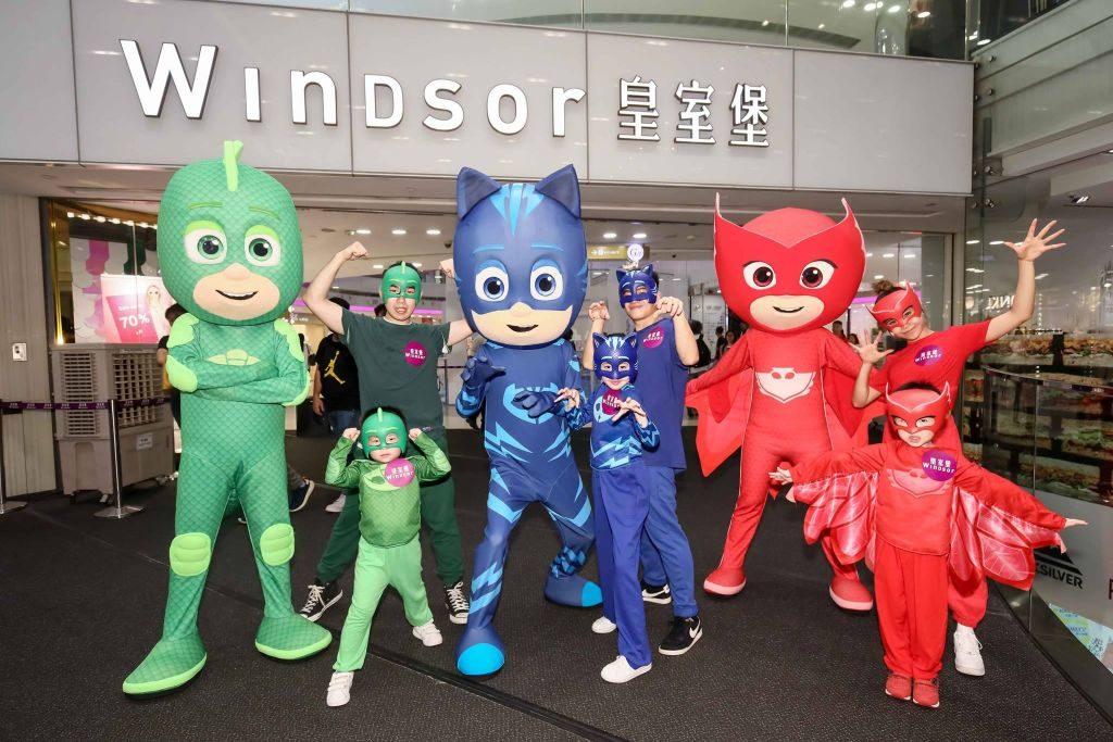 PJ Masks 三位主角 Gekko、Catboy、Owlette 召集香港小朋友加入「皇室堡 × PJ Masks 睡衣小英雄聯盟」。