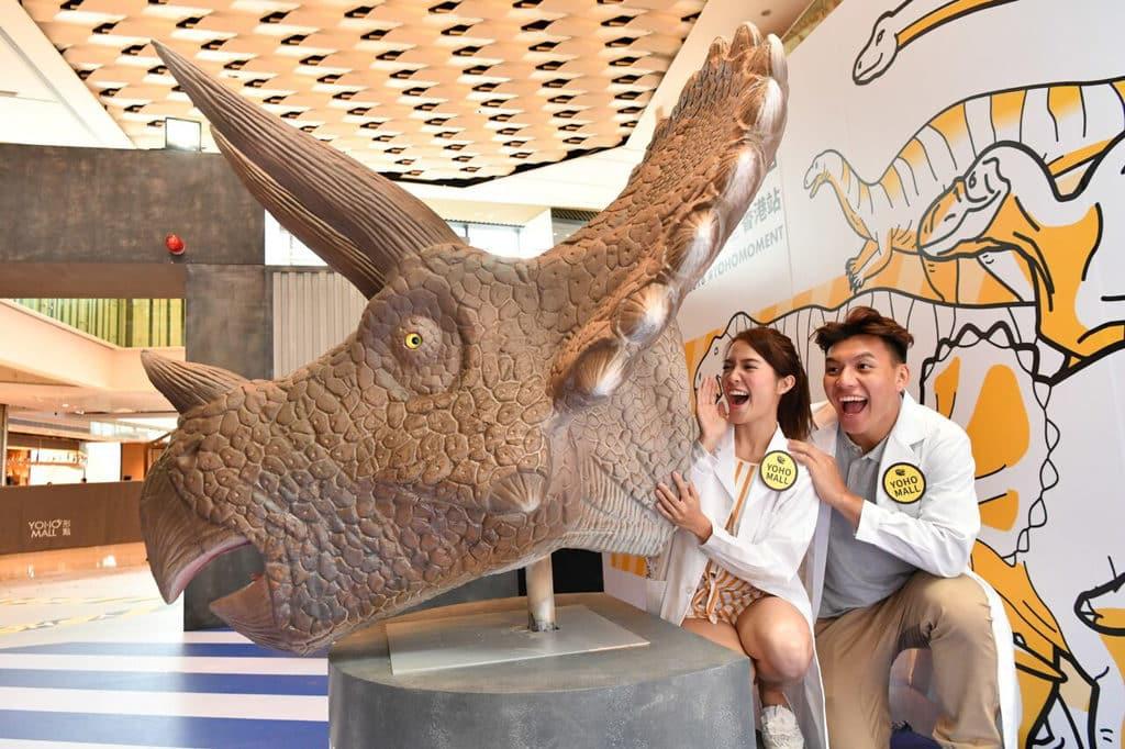 形點 #DINOLAB 恐龍實驗室展覽內的恐龍學舌。