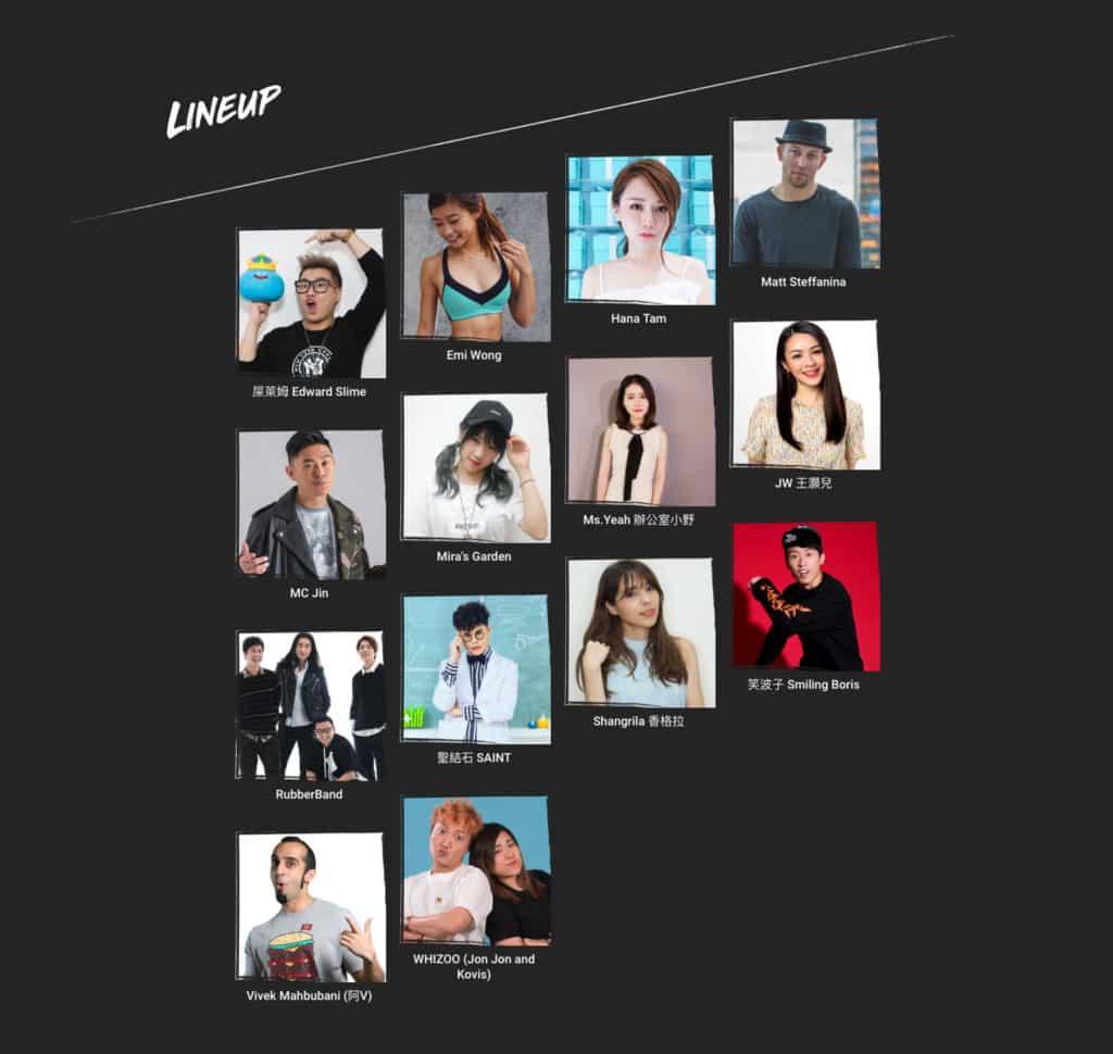 YouTube FanFest香港站2018 邀請了 14 個本地及國際知名的 YouTube 創作單位。