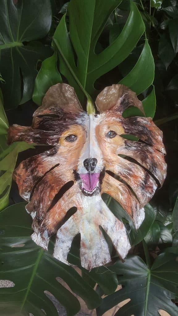 元朗廣場:仲夏寵愛藝術館 Upcycle Art 工作坊以樹葉為素材創作心愛寵物彩繪。