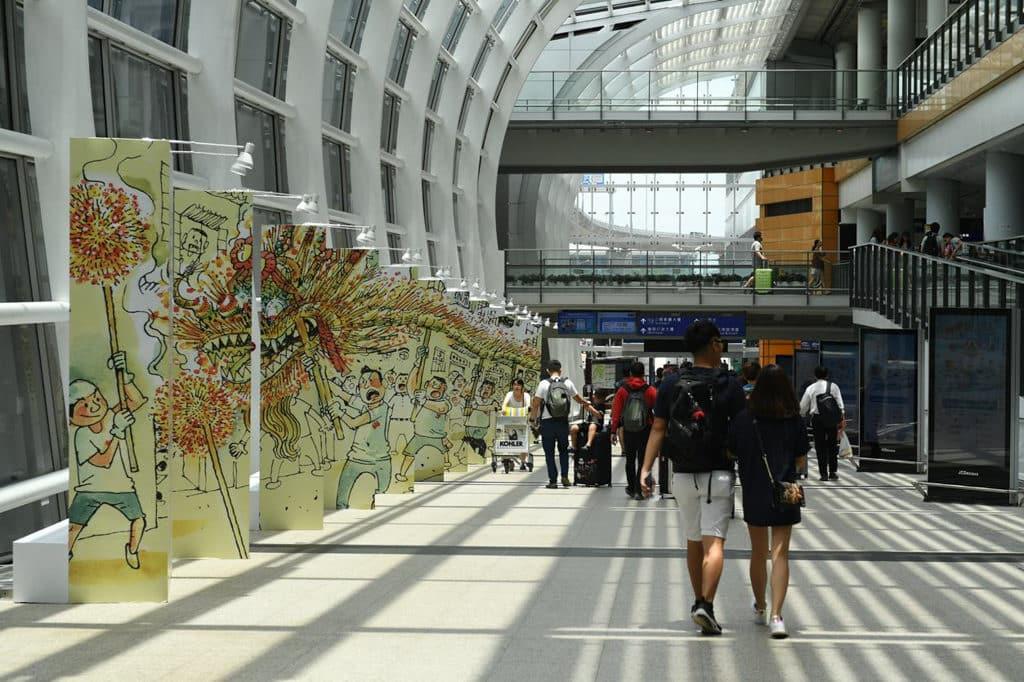 香港國際機場:藝術、文化與音樂巡禮在機場2018 本地插畫家蘇敏怡Stella So創作的「香港非物質文化遺產」插畫。