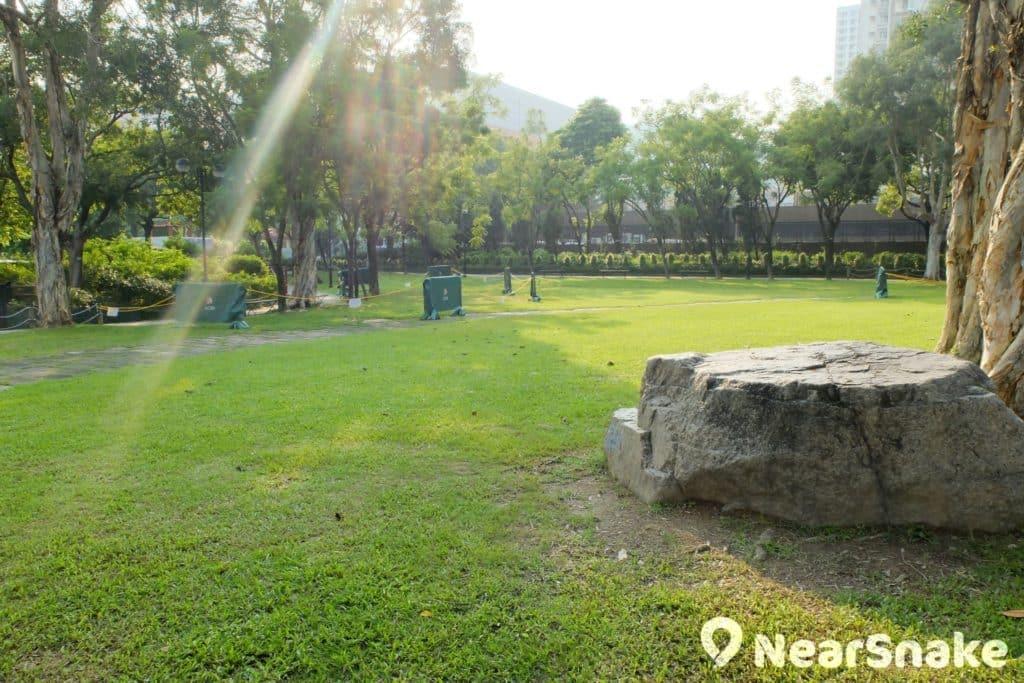 沙田公園北園大草地上有塊巨石台,坐下來看書,有種古雅氣氛。