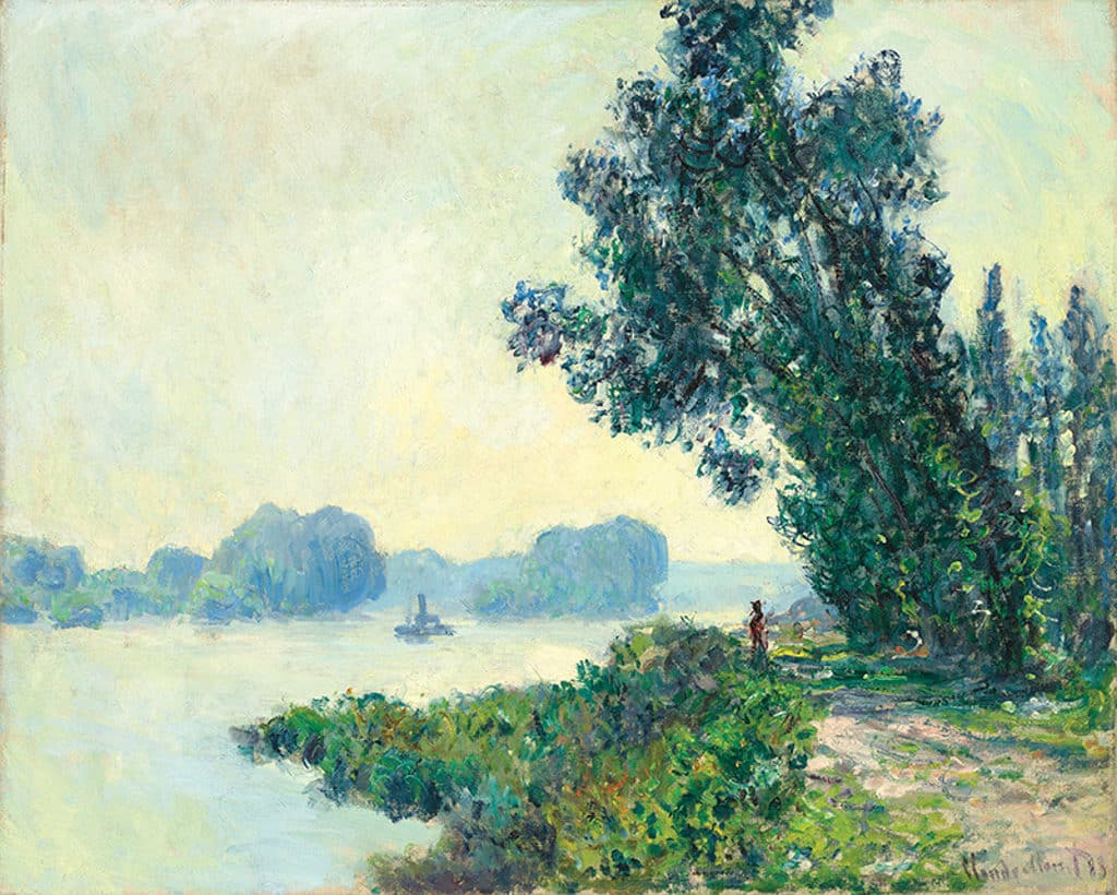 會展:典亞藝博 2018 克勞德.莫奈 (1840-1926) 在格蘭瓦爾的曳船路, 1883, 布面油畫, 高. 65 x 寬. 81 公分, Gladwell & Patterson(倫敦)