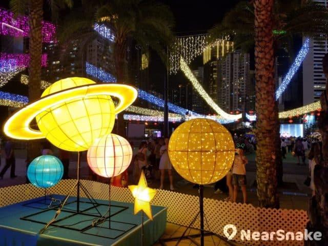維園綵燈會 2018 上擺放了木星造型的星球花燈。