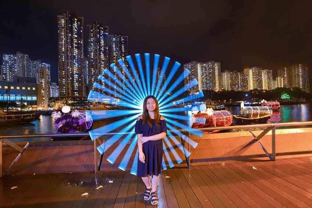 「彩艇.漁港情」南區國慶活動 現場有兩個攝影點,預設了 3 款圖案,供參加者選擇拍照。
