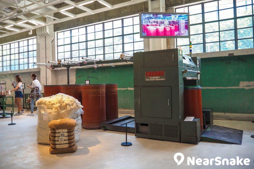 CHAT 六廠的陳廷驊基金會展廳內,擺放了多部製棉機器,了解當時製棉的過程。