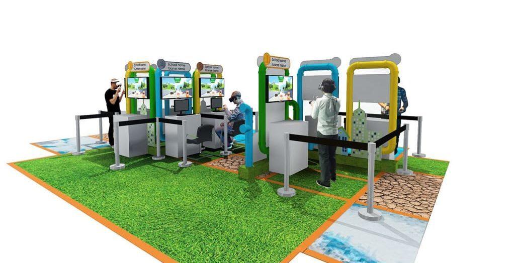 馬鞍山新港城中心:煤氣綠火焰VR嘉年華 公眾可親身試玩 9 個中小學生設計的環保 VR 遊戲。