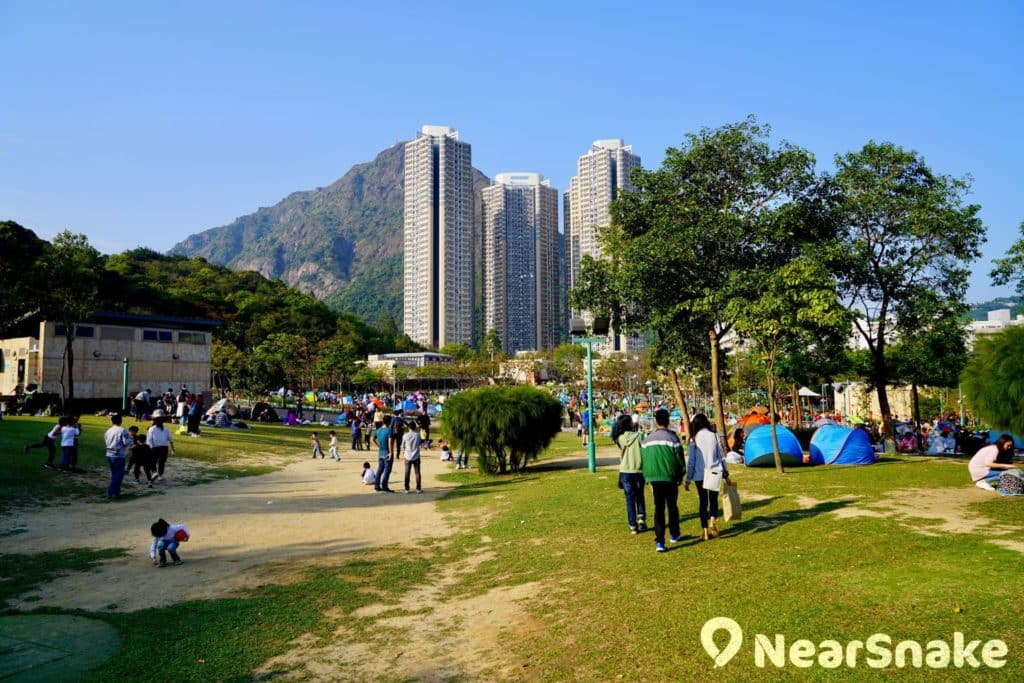 佐敦谷公園中央草坪範圍非常廣闊,估計可容納上千人吧!