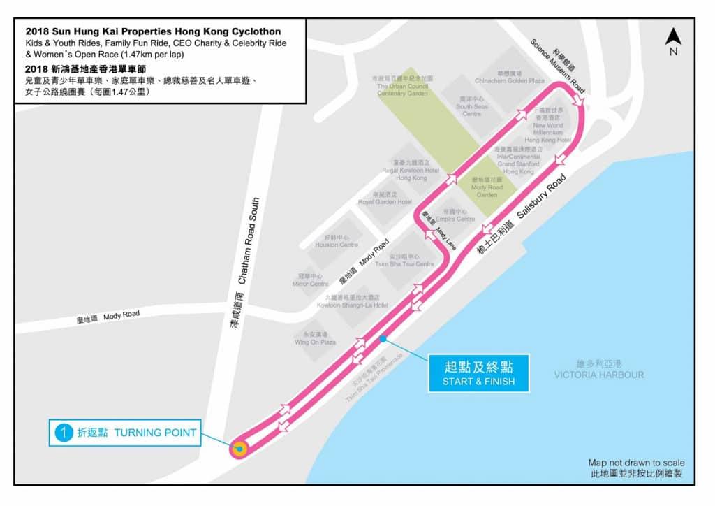 香港單車節2018/新鴻基單車節2018 男子公路繞圈賽及 Hammer 香港站路線