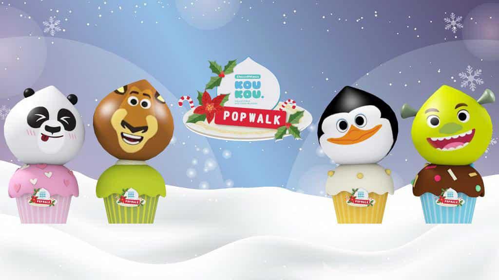 PopWalk天晉滙:聖誕甜品夢工場 4 大主角史力加、阿寶、阿力同企鵝老大將於巨型甜點裝置中現身。