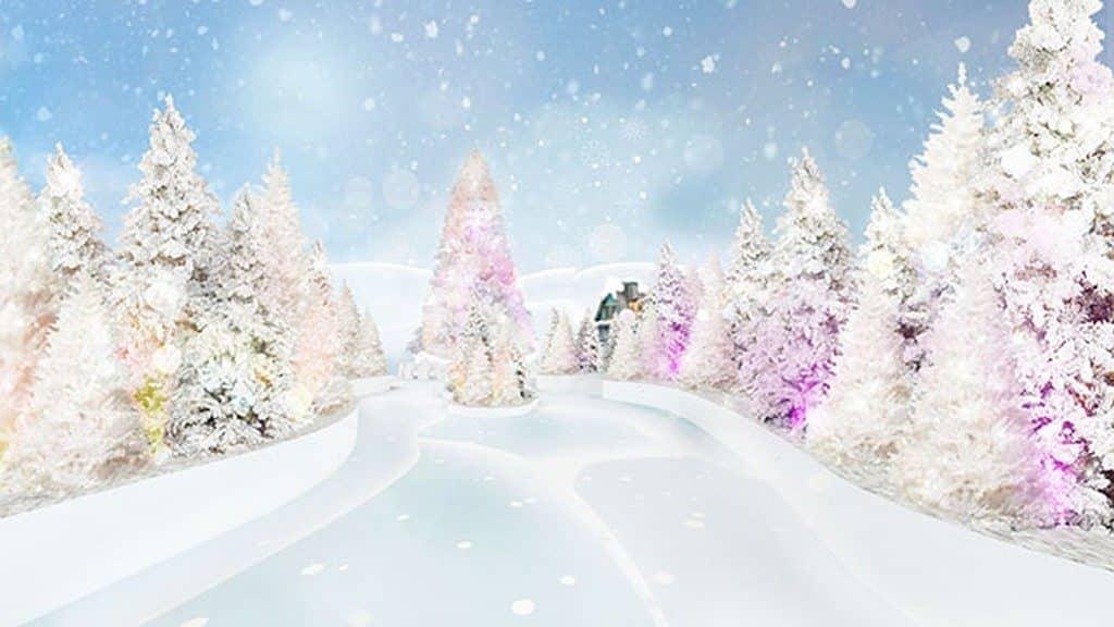 超過 100 棵聖誕樹鋪滿皚皚白雪並掛上閃亮的星光裝飾,營造茫茫雪景!