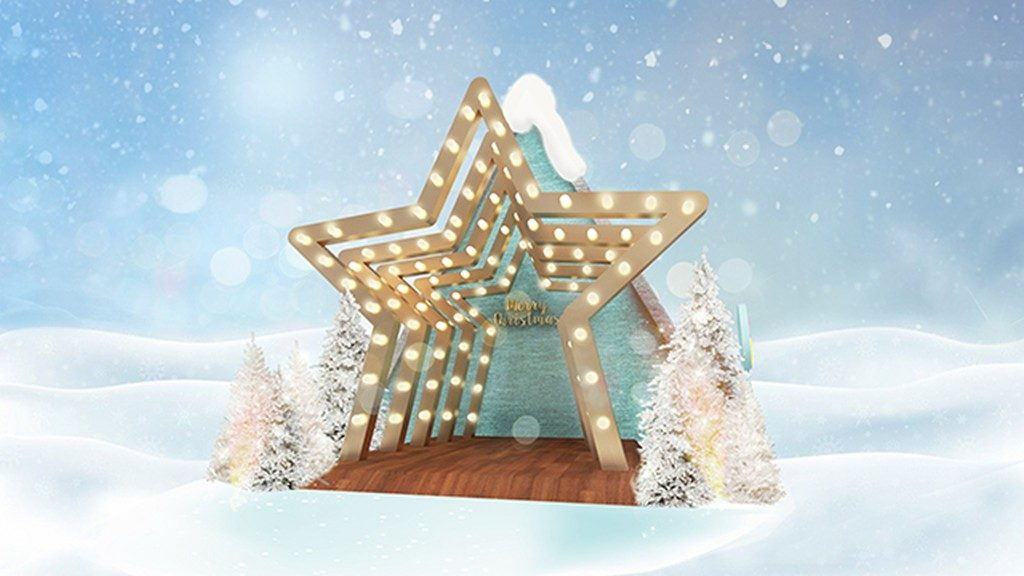 YOHO MALL「雪之森林」的星光隧道,照亮茫茫雪地。