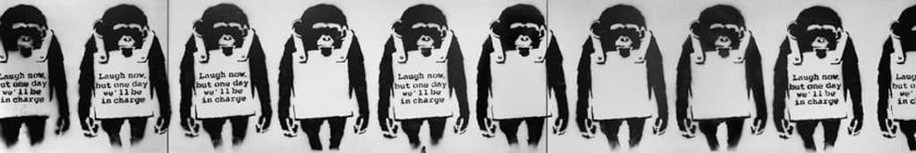 Banksy: Who's Laughing Now香港展售會 大型噴漆印畫《Laugh Now》(2002)