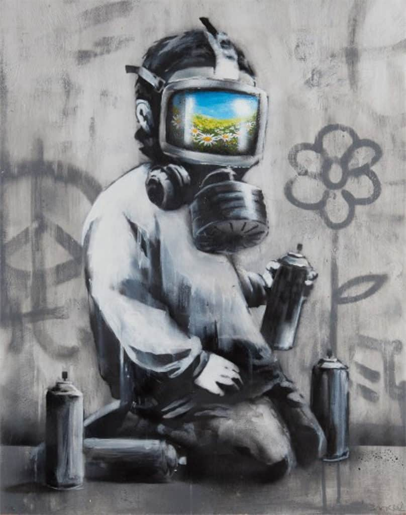 Banksy: Who's Laughing Now香港展售會 《Gas Mask Boy》