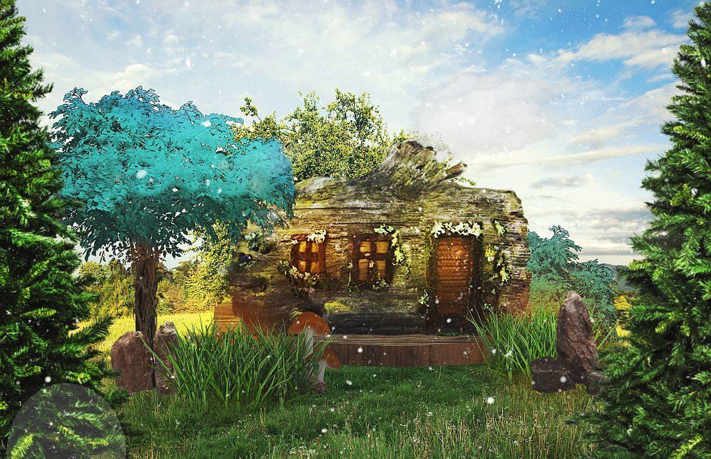 大家來到 D2 Place「螢の森The Forest Light」除可探索精靈小木屋,還可於指定時段與親友一起享受逼真飄雪效果。