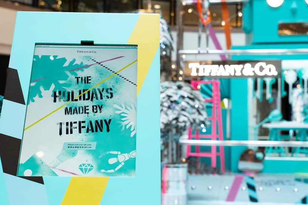 海港城海運觀點及港威商場:「The Holidays Made by Tiffany」聖誕佈置 門口設有抽獎位,掃瞄 QR Code 可登記免費抽獎。